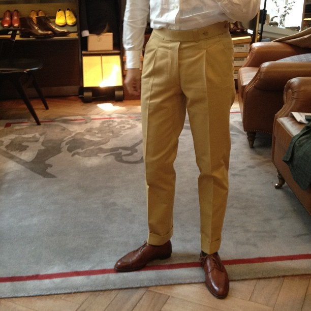 My new odd trousers that I will be wearing every day - 17 oz cotton chinos by  #thearmoury #ambrosi