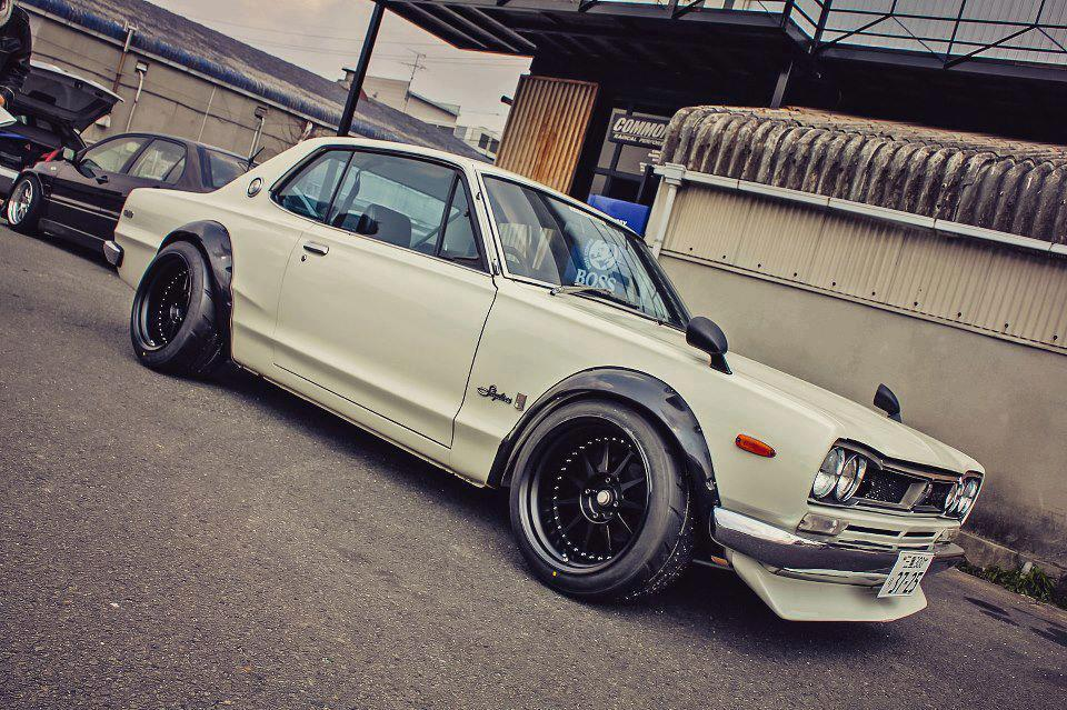 A classic Japanese Domestic Market (JDM) Nissan Skyline GT-R KPGC10 done in a tribal style that goes by many names (Shakotan, Yankii, Kyusha, Garuchan, Bosozoku style…etc)