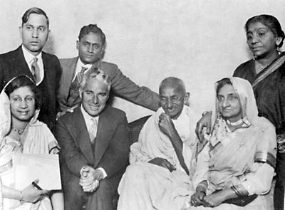 Chaplin with Gandhi, September 22, 1931 Gandhi meets with Charlie Chaplin at the home of Gandhi's friend Dr. Chuni Lal Katial in Canning Town, London, September 22, 1931. http://commons.wikimedia.org/wiki/File:Chaplin_and_Gandhi.jpg
