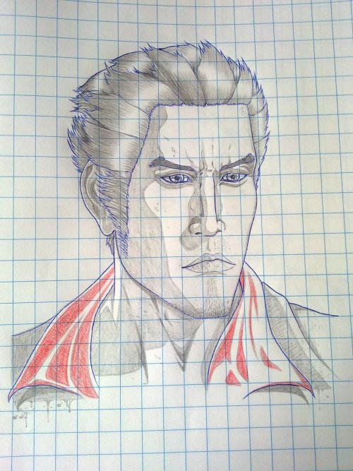 Fan submitted: Kazuma Kiryu grid paper.  Look at that chiseled jaw. Great job!