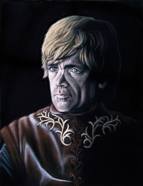 "Tyrion Lannister 14"" x 18"" acrylic on black velvet   $600 Part of the Mondo Gallery group art show themed after the award winning television series Game of Thrones. The art show will opened on Friday, March 8, 2013 from 7 PM to 10 PM at Mondo Gallery in Austin, Texas and be on display until Tuesday, March 12, 2013. To purchase, please go to: http://www.mondotees.com/Tyrion-Lannister_p_879.html"