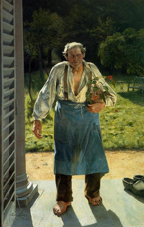 The Old Gardener (1885) by Emile Claus, Belgium Impressionist.