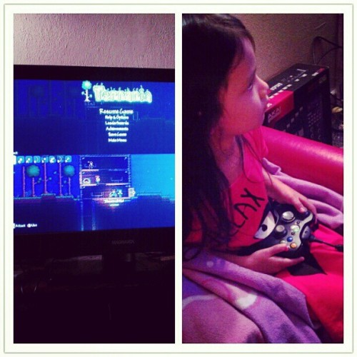 Never #awake this #late but she is up and #playing #videogames  with #daddy.