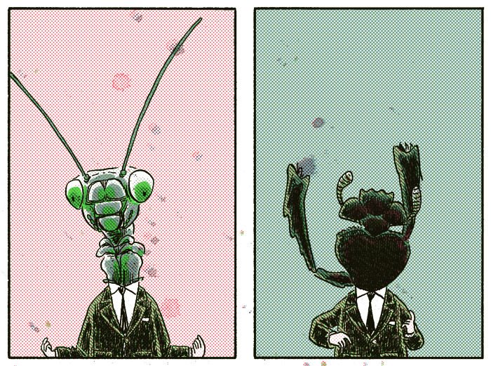 "H.: Mantis, Dung Beetle Preview from my four-page story in the upcoming Nobrow #8, ""Hysteria,"" available for preorder now. I'll be running two panels a day over the next month, leading up to its release at the Toronto Comic Arts Festival."