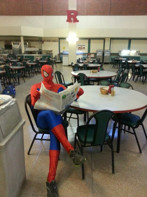 albi-theracistdragon:  Spiderman chilling at the dining hall, nbd.