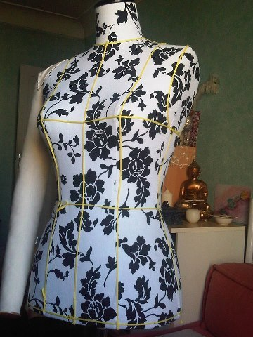 Preparing a mannequin for dress making - u need to measure and mark out every line and curve - this is only the basics. Then I have to mark out the lines of the dress/top, whatever that im making in a different colour… If u need to change the chest size or the stomach for a pregnant woman etc, you can pad the mannequin out with a special foam-like material to get the right shape. This is a standard UK12 or FR38/40 xoxo LLM