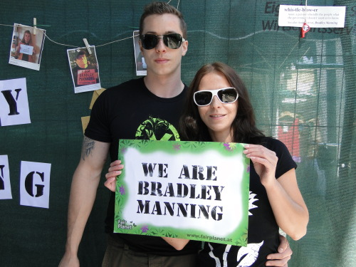 We are Birgit und Matthias from Austria and we wanna support Bradley Manning!