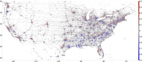 Mapping America's happiest city. It's no coincidence that the highest reported happiness comes from areas with high walkability.
