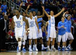 uncbball:  P.J. Hairston #15 of the North Carolina Tar Heels and the bench celebrate in the second half against the Villanova Wildcats.