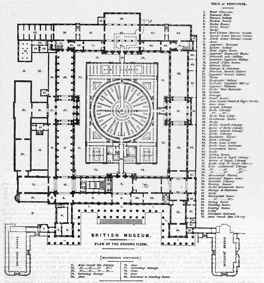 Plan of the ground floor of the British Museum, London