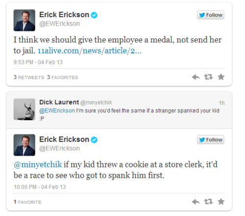 Erick Erickson (@EWErickson) defends a Dollar General employee spanking an 8-year old child.
