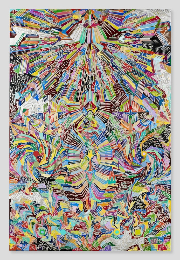 Graphic We Love: Damien Hirst Dragon Slayer, scalpel blades on canvas, 2012. See a plethora of other works —- lithographs, prints, and books by Hirst available on eBay.  (Photo: Courtesy of chadwys Tumblr)
