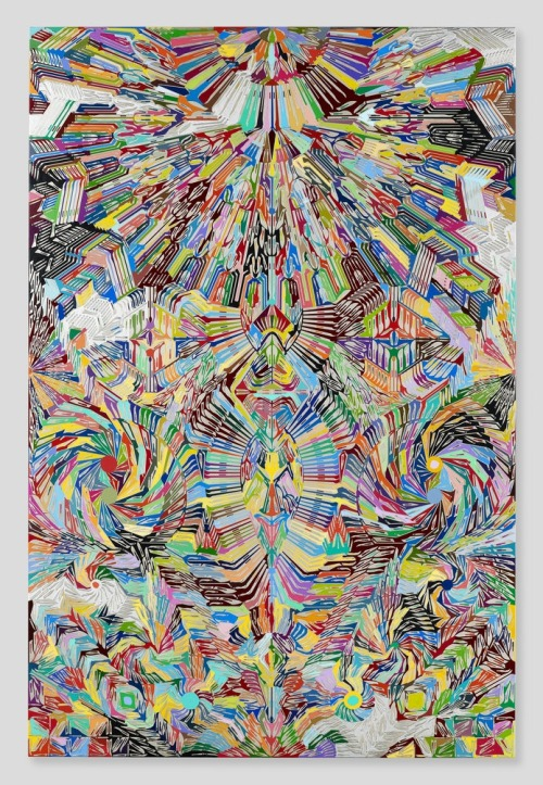 theinsidesource:  Graphic We Love: Damien Hirst Dragon Slayer, scalpel blades on canvas, 2012. See a plethora of other works —- lithographs, prints, and books by Hirst available on eBay.  (Photo: Courtesy of chadwys Tumblr)