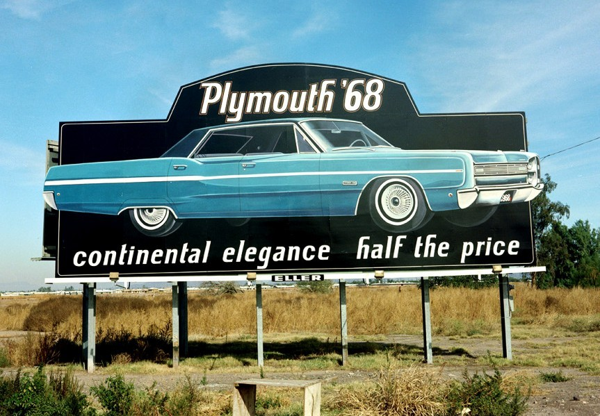 Continental Elegance… 1968 Plymouth billboardMopar Monday