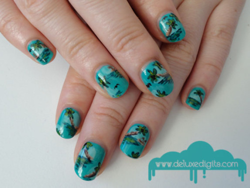 Tropical Holiday nails. Inspired by 1970's Hawaiian print fabric.  Come and have a chat on my Facebook page! :)