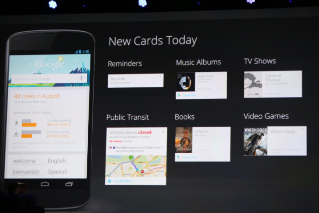Google Now Gets New Cards For Reminders, Music, Public Transit, TV, Books And Video Games This is one of my favorite features about Android. It gives very useful contextual recommendations, especially when I'm traveling and even when I travel internationally.