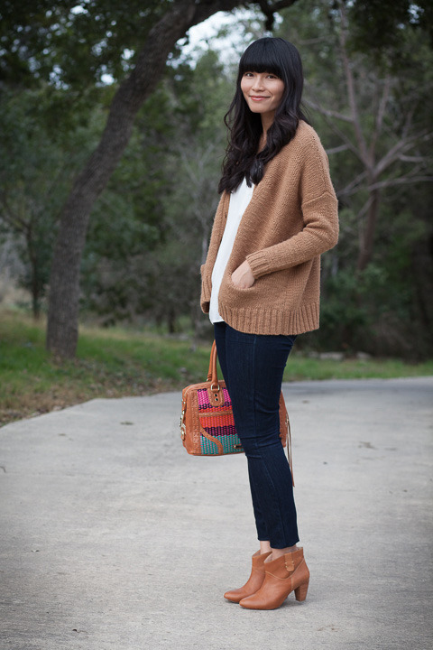 2013. brown hare. stitched cardigan by madewell. joie rancher tee. verdugo leggings by paige. rebecca minkoff doll boots and bombe bag.the older i get, the more comfortable i am wearing what i want and what i deem beautiful. i know this cardigan is sort of oversized and kind of shapeless; its color resembles beatrix potter's bunny family. at some angles, it makes the upper half of my body look huge.but i like it. at thirteen, i worshipped fashion magazines and wanted to resemble the models. at thirty-one, i understand there are rules and trends but you don't have to follow or adopt any of them. if i wake up one morning and want to dress like a brown hare, more power and more carrots to me.really— more carrots. this was my grocery shopping outfit.the look | similar sweater | tee | similar jeans | similar boots