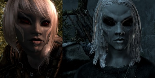 "okay I just wanted to ""prove"" that Dark Elves can be super pretty/feminine/not alien-looking. Everybody I know makes fun of me for always playing a Dark Elf, and I'll admit that the vanilla game makes them look old and there are some weird textures in their faces. It's hard to tweak the preset faces, too, to make them a bit softer. Maybe I'm missing the point with the race, and they're supposed to look hard. But I always make my Dark Elves look the same, with white hair, and then the old lady face makes people laugh at my choices even harder. I sound like I'm super serious and emotional about this - I promise I'm not. I just wanted to show that even with very little modding, Dark Elves can look really neat!!"
