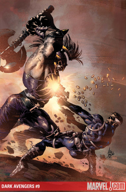 Ares and Nick Fury on the cover of Dark Avengers vol. 1 #9 by Mike Deodato Jr. November 2009.