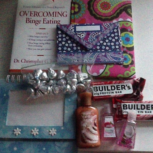 backonpointe:  binge-on-life:  binge-on-life:  Binge-on-life's giveaway! I kind of just wanted to do one out of the blue. Before i tell you what the winner gets, please read the rules: 1. Must be following me 2. Must reblog (I will not count likes) 3. Must be in US (sorry, shipping is super expensive) :/ Included: Overcoming Binge Eating—this book didn't work for me but I'm sure it will for someone! -a journal -a photo album thing (idk it's by hallmark and it's cute okay??) -a bag of Hershey's Kisses (it'd totally be less awkward if I was giving away Hugs oops) -two Clif Builder bars -two mini hand sanitizers and one bottle of lotion -a letter from me (I hope this is why you're entering :*) I'm going to give those giveaway some time so i will randomly pick the winner on April 1st P.s. if you message me with a reason why you think you should win, you get an extra entry! :) If this gets over 100 entries, I'll throw in a surprise!  i will not count likes i will not count likes i will not count likes i will not count likes i will not count likes must be following me must be following me must be following me must be following me  I know I have a lot of followers who are recovering from BED, so here's a giveaway you might be interested in.