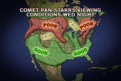 Stargazers Forecast for Comet Pan-STARRS Although Tuesday, March 12, and Wednesday, March 13, are the best dates to see the Pan-STARRS comet, it could still be visible this weekend.