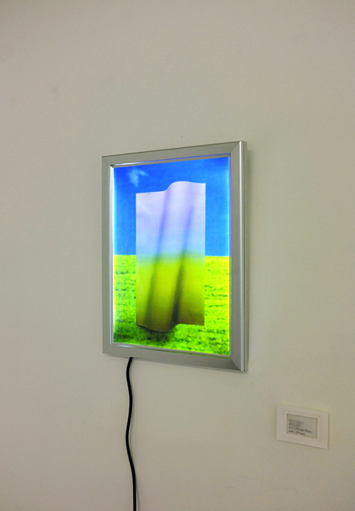 ΛλOWGLI Virtual Horizon Bliss|ssilB (by Mowgli Omari) 2013, Backlit Print 420mm x 297mm  The hang for my recent college unit. The piece above draws inspiration directly from the digital landscape I am attempting to portray. Creating a work that directly appropriates the represented landscape of the computer. National Geographic photographer Charles O'Rear originally took the image that I have appropriated for this piece in 1996, using a medium format camera. Soon after the image was taken Windows bought the rights to use it as the default background for their XP operating system. Named 'Bliss' the picture is now thought to be the most viewed images of all time, according to reports online over billion people have seen it. The image represents new medias ability to take from the physical world and reshape material identity. Using 'Bliss' I began to create the paper sculpture that would aim to make the same transition from a physical state, to a new digital individuality that the former landscape had also undergone. Tumblr | Flickr | Facebook
