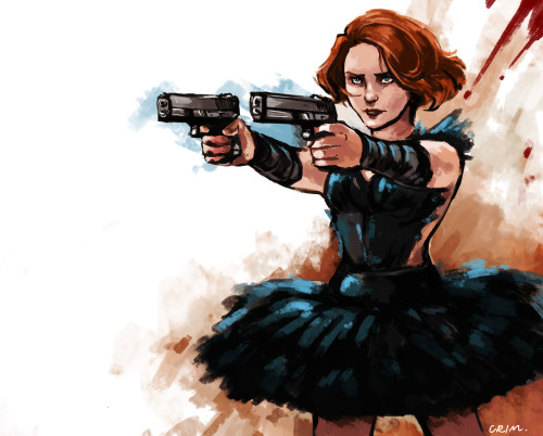 crimson-sun:  Comic-verse Black Widow was a professional ballerina, which is all sorts of awesome. Done with a few refs. Trying to learn new things.