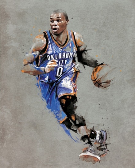 Pretty dope art of Russell Westbrook from RareInk by way of @DailyThunder. Would look good on anyone's wall, regardless of whether they're currently residing in Oklahoma City.