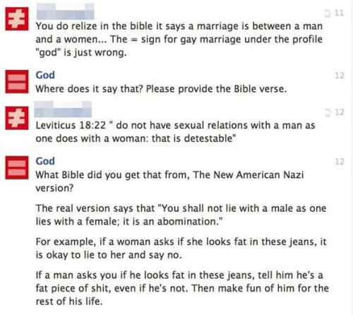 fuckyeahidiotonfacebook:  Straight from God himself.