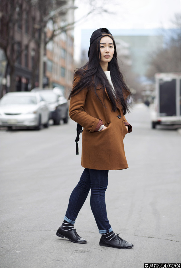 Jing / Queen and John Topshop coat, Vintage shoes and shirt, Hudson jeans, Gypsy Sport hat