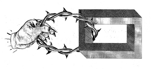 Ascetic House logo. Graphite and ink / collage. www.ascetism.com/