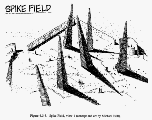 An ink drawing of a landscape with pyramidal spikes jutting about 20 meters from the ground. People are wandering around the landscape looking at the spikes. (concept and art by Michael Brill)