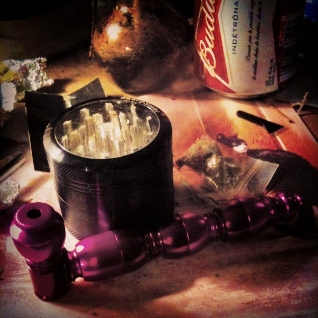 My new pipe and buster from my lovely. :3 #pipe #weed #pot #marijuana #metal #sharpstone #budweiser #presents #gifts #love