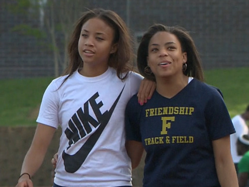 nbcnews:  Sisters, separated for 17 years, find each other at high school track meet (Photo: NBC Nightly News) Robin Jeter, 18, and Jordan Dickerson, 17, grew up quite differently in the nation's capital. But it's hard to ignore the similarities: They're smart, pretty and fashion-forward, and both are also athletic and have double-jointed thumbs. A coincidental encounter at a track meet brought the long-separated sisters together. Read the complete story.