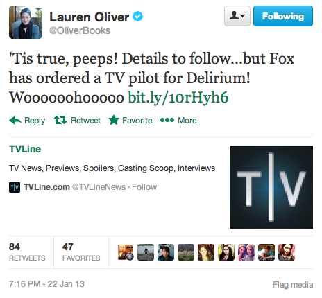 Lauren Oliver announces the Delirium TV pilot. [x]