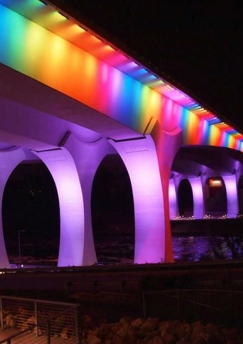 Move over rainbow crossing. A bridge in Minneapolis has been lit up like a rainbow for marriage equality. More photos here:  http://bit.ly/15P1B1o