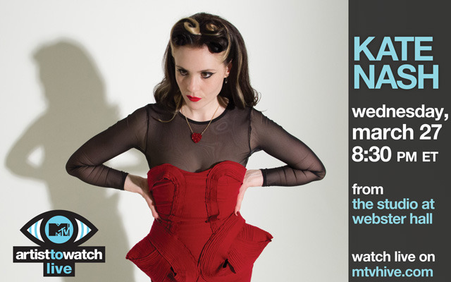 Tomorrow evening, Kate Nash's Artist to Watch performance will be streaming on MTV Hive at 8:35pm sharp. All the details you need here.