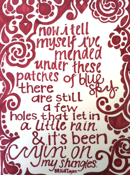 Bright Eyes lyrics via Prismacolor markers!