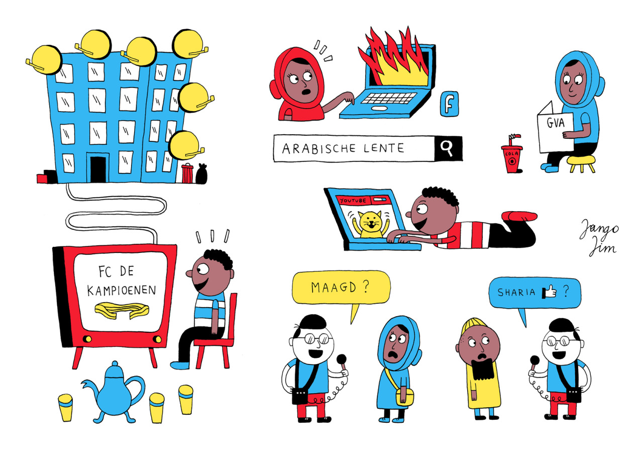 "I made a truckload of editorial illustrations for local Belgian newspaper Gazet Van Antwerpen's special about the struggles of young muslims in Antwerp ""Tussen Meir & Mekka"" (""Between the main shopping street of Antwerp and Mecca""). Here's a selected compilation."