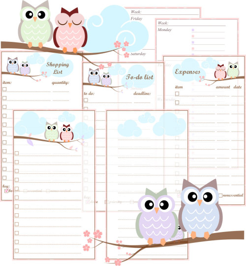 Personal Filofax Printable Inserts- Pastel Owls- includes Week On Two ...
