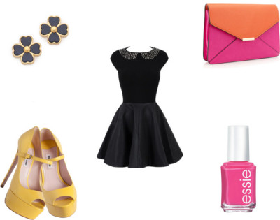 Spring OOTN by karolinam-928 featuring essie nail polishShort black dress / Accessorize envelope clutch / Tory Burch  / Essie  nail polish