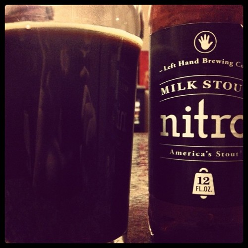 Left Hand Brewing Co.'s Milk Stout Nitro. Been hearing about this from several people for MONTHS so I finally picked some up. The bitter stout combines with the creamy milk to create a very smooth drink that is unmistakably a roasted stout, but also has something sweet—almost cocoa—in the aftertaste. I'm not sure if it's in my top-five stouts yet…but maybe it should be. If you like a good stout, pick this up. It's a GOOD stout.
