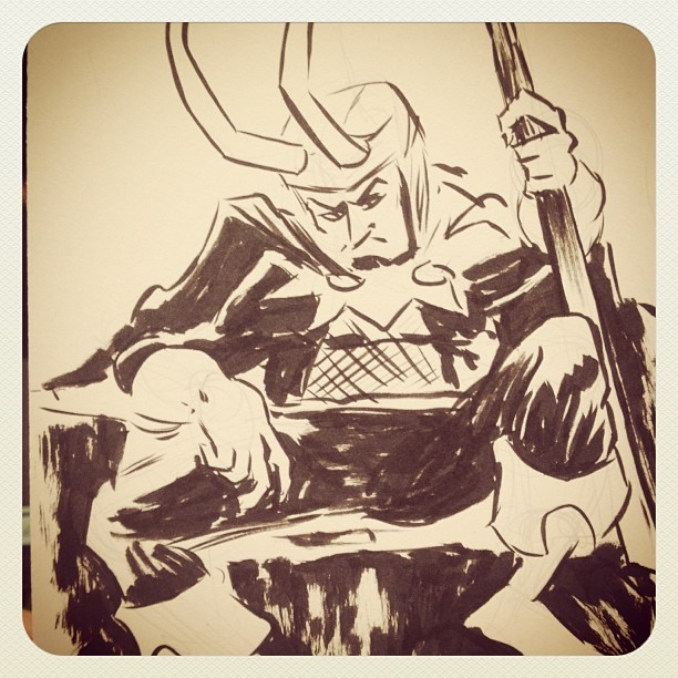 #Loki #doodle at #AppleseedCominCon. Totes forgot to take pix of most commissions….