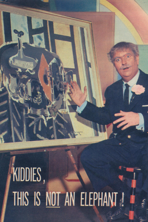 thepieshops:  Captain Kangaroo explains modern art to the children - TV Guide July 6-12, 1957