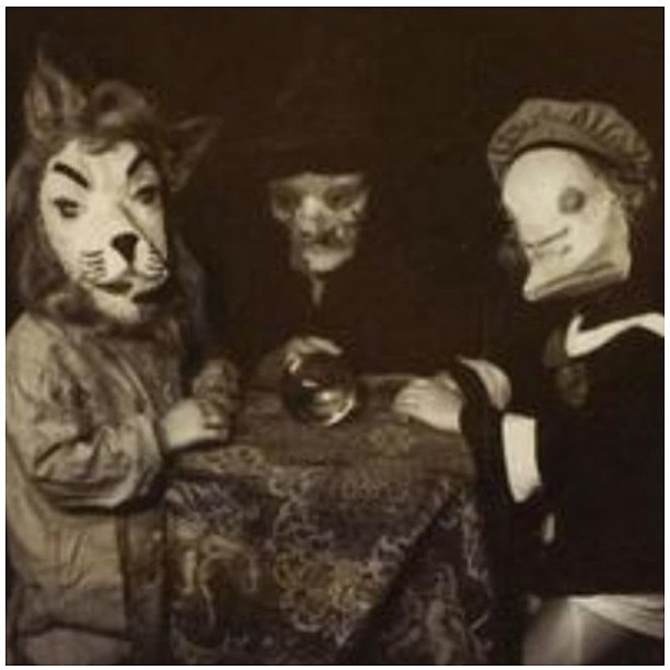 Dear cousins at a holiday event😳 #vintage #blackandwhite #masks #magik  #lionhead #witchmask #sailorboymask #odd #oddities  #strange  #bizarre #crystalball #seance #cousins #lol #wtf #fashion #style #creepy