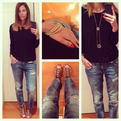 Boyfriend jeans and Sandro booties. Casual and comfy today :) #ootd #sandro #outfits