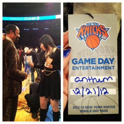 theycallmebk:  I told Clyde I needed the female fit of that suit #nyknicks #friday #anthem (at Madison Square Garden)