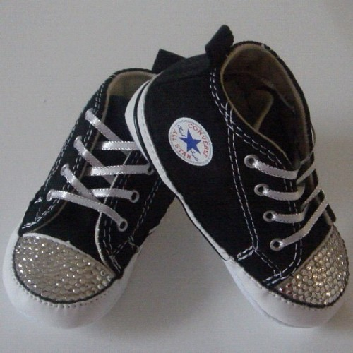 Black Baby Converse Featuring Clear Swarovski Crystals, facebook.com/Mydiamonte and diamonte.com.au