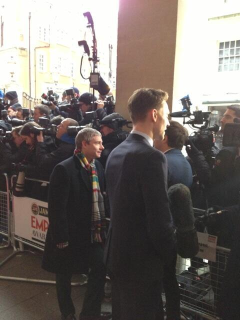 hiddleswitch:  torrilla:  Empire Magazine: Martin Freeman has turned up wearing what looks like one of Bilbo's scarves. Pipe out of shot. pic.twitter.com/PJPNQCnrbu  Didn't expect that