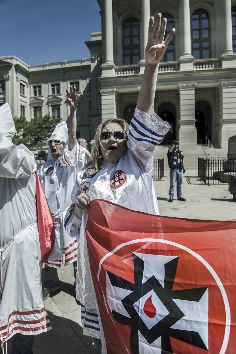 "The National Socialist Movements holds their annual ""Nationals Convention"" in Atlanta Georgia, April 19-20th.  Their march on the capitol was joined by other local ""white civil rights"" groups including the Loyal Knights of the Ku Klux Clan.   part 3 (final)"